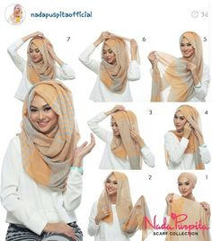 This is a hijab that Muslim women have to wear because it is a part of the religion. You can wear hijab in many different ways. The woman have to wear hijab in front any stranger that a man she could take it off in front of any girl. Square Hijab Tutorial, Simple Hijab Tutorial, Hijab Style Tutorial, Pashmina Hijab Tutorial, Mode Turban, Turban Hijab, Hijab Dress, Hijab Niqab, Swag Dress