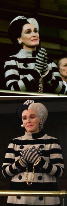 Cruella DeVil's prison/jackie o look. 102 Dalmatians -- Costume Designer Anthony Powell