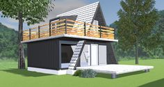 This Pin was discovered by lfm A Frame House Plans, A Frame Cabin, Small House Plans, Tiny House Cabin, Cabin Homes, My House, Triangle House, Casas Containers, Forest House