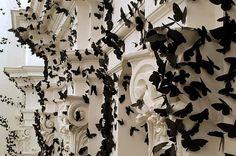 30,000 swarming paper moths consume gallery walls. by carlos amorales