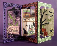 Mary Prasad using the Pop it Ups Rectangle Accordion, Katie Flourish Frame Edges and Tags Pivot Card by Karen Burniston for Elizabeth Craft Designs. - Awash with Color: Halloween Lilly Accordion Rectangle Card