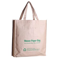 a shopping bag made of woven paper with stitched borders. Woven paper is an amazingly strong material with 100% recycling qualities. The surface of this special bag can be printed with very good results. A sustainable and eco-friendly promo bag for clients that care for our environment. Minimum order: 5.000 pcs.