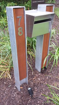 Letterbox - Black H-section, merbau, black box.