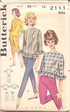 Womens Blouse Pants Capris Butterick 2111 by ErikawithaK Vintage Dress Patterns, Blouse Patterns, Clothing Patterns, Vintage Dresses, Vintage Outfits, Vintage Fashion, Vintage Clothing, Seventies Fashion, Fashion Goth