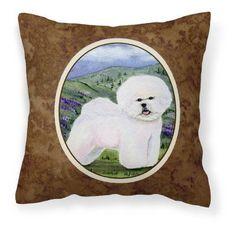 Carolines Treasures Bichon Frise Canvas Square Decorative Outdoor Pillow - SS8025PW1414