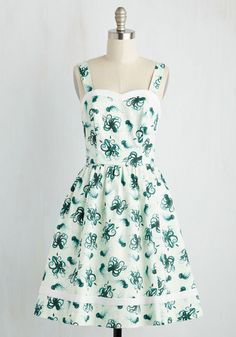 Alfresco in Avignon Dress in Deep Sea by ModCloth - Green, White, Print with Animals, Novelty Print, Print, Casual, Sundress, Nautical, Critters, Fit & Flare, Sleeveless, Spring, Woven, Exceptional, Exclusives, Private Label, Cotton, Mid-length, Variation, SF Fit Shop