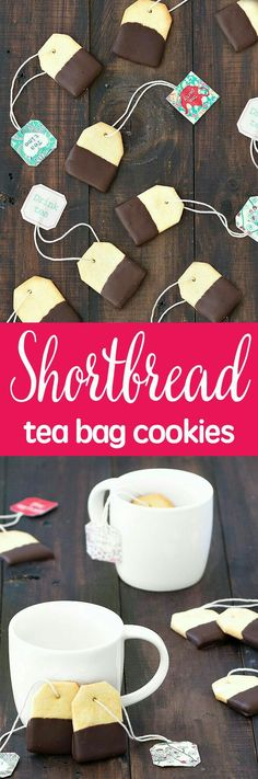 Impress your friends the next time you have them over for tea with these chocolate dipped shortbread tea bag cookies. Super easy recipe with step by step tutorial. Impress your friends the next Tea Bag Cookies, Cookies Et Biscuits, Sugar Cookies, Baking Cookies, Shortbread Cookies, Tea Biscuits, Oatmeal Cookies, Chip Cookies, Tea Party Birthday