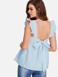 SHEIN Pink Preppy Backless Round Neck Sleeveless Ruffle Trim Knot Back Smock Blouse Summer Women Weekend Casual Sweet Shirt Top(China) Moda Junior, Top Volant, Shein Dress, Mode Bcbg, Women Bow Tie, Bow Tie Blouse, Preppy Style, Ruffle Trim, Blouses For Women