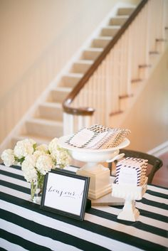 Black & white striped welcome table