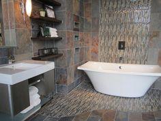 Tile from the tile shop slate bathroom with slate and glass Tiny Bathrooms, Rustic Bathrooms, Modern Bathroom Decor, Bathroom Design Small, Amazing Bathrooms, Bathroom Ideas, Bathroom Designs, Bathroom Remodeling, Slate Bathroom