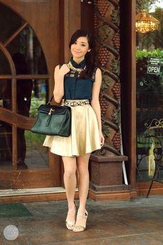 Emerald and Green   dark green Fantasia top  gold Fantasia skirt  kryzuy.com