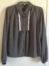 Oleg Cassini Ruffle Front Blouse Gray White Lace Top Shirt Button Up Career M