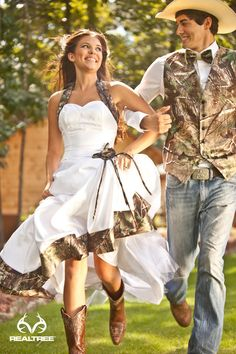 white camo wedding dresses and groom outfits