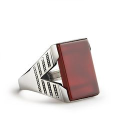Agate Ring for Men Men's silver ring Red Agate Ring by ATAjewels
