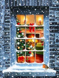 Christmas Scenery, Cosy Christmas, Christmas Pictures, All Things Christmas, Vintage Christmas, Christmas Time, Christmas Crafts, Christmas Decorations, Illustration Noel
