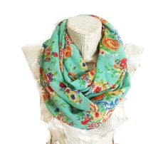 On sale Summer Scarf Mint Green Scarf Infinity Scarf by HeraScarf, $12.90
