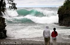 """Superior Seas by Cory Genovese: """"High seas on Lake Superior! 40-50mph gusts with occasional 15-20ft breakers at Black Rocks on Presque Isle.(Marquette, Michigan) Very electric...  10-20-11"""""""