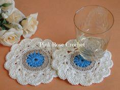 PINK ROSE CROCHET: Centrinhos Charme Porta Copos Coasters