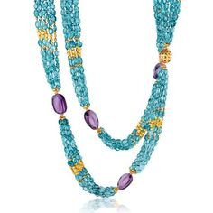 Verdura Raja Necklace Apatite, amethyst and gold.