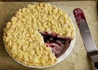 Cheesecake Streusel Pie.  A delicate cheesecake is baked on top of a blueberry pie filling, perfect for Mr. Wittle's Blueberry Pie Filling. It is topped with a crumbly sugary streusel. The buttery pie crust keeps everything together.