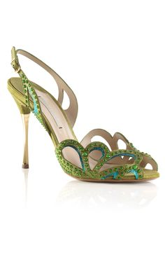 Nicholas Kirkwood SS13 Fluro Green Studded Sandal