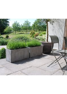 Grey 1m wide rectangular garden planters