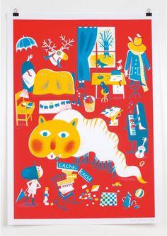 Affiche à jouer - Grain de sel - Aurélie Guillerey Technique: Sérigraphie Papier: offset 150 gr Format: 50x70 cm Tirage: 100 ex Edition numérotée Signé par l'artiste #red #kids #artprint #affiche #deco #illustration #room #chambre #furnitures