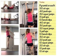 Pyramid Crossfit Workout. Goal: to actually be able to do this! We have tried this its not as easy as it sounds #GetFitandHealthy