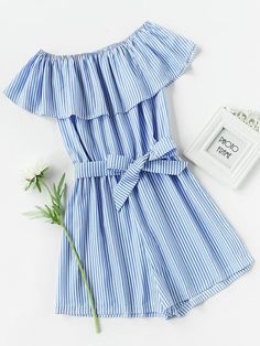 Blue Frill Bardot Overall Vertical Striped Off Shoulder Short Sleeve Self Tie Romper