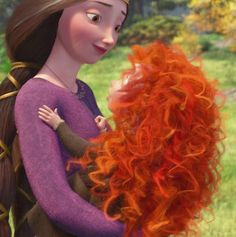 Merida with her mother, Elinor.... My Eleanor loves this movie and tells me SHE is the queen because she and Merida's mommy have the same name. Love it!