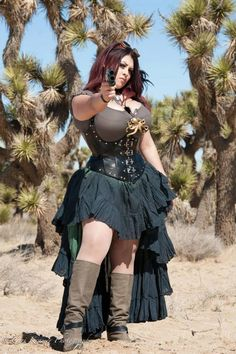 Touches turn a simple outfit into a great steampunk outfit, like the addition of the underbust corset featuring studs around the edges and the bustling of the skirt, which can be achieved with tucking up parts of a longer skirt to get the look.