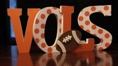 Tennessee Vols sign Freestanding Wooden letters by Waywithword Tennessee Football, Tennessee Girls, Freestanding Wooden Letters, Vol Nation, Tn Vols, Orange Country, University Of Tennessee, Tennessee Volunteers, Pottery Studio