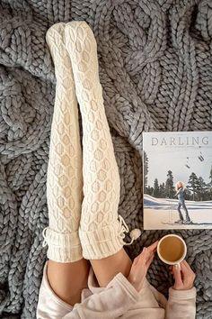 Oct 2019 - Thigh High Comfy Warm Socks – Amilyonline Warm Outfits, Chic Outfits, Fashion Outfits, Thigh Socks, Knee Socks, Thigh High Knit Socks, Thigh High Socks Outfit, Latest Fashion For Women, Womens Fashion