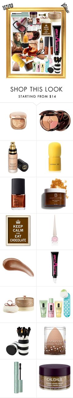 """spring glow"" by xiomara-ponce ❤ liked on Polyvore featuring beauty, Guerlain, Gucci, Bdellium Tools, NARS Cosmetics, Christian Louboutin, Bare Escentuals, Soap & Glory, Naked Princess and Clinique"