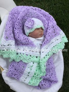 THIS BEAUTIFUL BLANKET SET RECENTLY SOLD .......SO I WILL MAKE YOURS JUST FOR YOU! PLEASE ALLOW UP TO 3 WEEKS BEFORE SHIPPING FOR ME TO COMPLETE YOUR ORDER! Having a hard time finding pretty crochet afghan sets for baby girls? This one fits the bill. This is such a pretty crochet