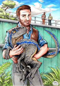 Jurassic World - Owen and baby Blue by Tadeu-Costa.deviantart.com on @DeviantArt