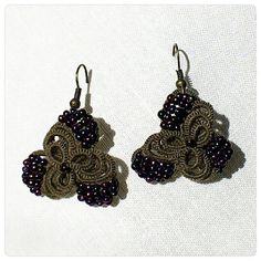 Khaki  Purple  Tatted Lace  Beaded  Earrings  by LaceLounge