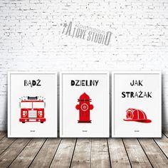 Zestaw trzech plakatów (tryptyk) Strażak. Prawie każdy mały chłopiec marzy o pracy strażaka . Przedstawiamy uroczą dekorację do pokoju dziecięcego dla każdego małego bohatera. Piękna czerwień i białe tło sprawiają, że plakaty strażackie dla dzieci pasują praktycznie do każdego koloru ściany oraz wystroju pokoju dzielnego zucha. Baby Room, Kids, Poster, Home Decor, Speech Language Therapy, Young Children, Boys, Decoration Home, Room Decor