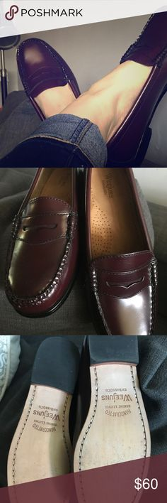 SALE✨Classic Weejuns penny loafers Burgundy GH Bass Weejuns. Size 7.5. Never worn outside the house. These are absolutely timeless, easy to pair with jeans or dress up for work. Thick insoles for comfort. G.H. Bass&Co. Weejuns Shoes Flats & Loafers