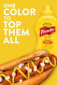 If happiness were a color, it would be French& Classic Yellow! Summer cookouts, grilling at home, and family dinners are the perfect moment to top your hot dog or burger with tasty yellow mustard. Food Network Recipes, Gourmet Recipes, Low Carb Recipes, Dinner Recipes, Dessert Recipes, Cooking Recipes, Desserts, Baked Hot Dogs, French Sauces