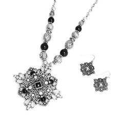 """Flourish Pendant Necklace Set; 18""""L; Burnished Silver Metal; Black Gemstones And Clear Rhinestones; Lobster Clasp Closure; Matching Earrings Included; Eileen's Collection. $24.99. Save 50%!"""