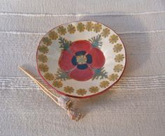Red poppy bowl Tapas dish Trinket bowl with by BlueButterflyCrafts