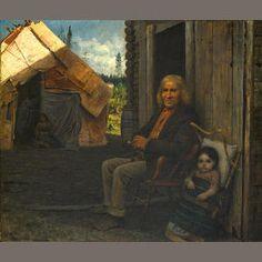 Indian Family (ca 1856-57) - oil on canvas.Jonathan Eastman Johnson