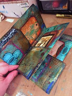 File Folder Mini Art Journal by Gwen Lafleur with StencilGirl Products