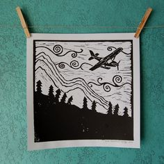 SUCH GREAT HEIGHTS - linocut print