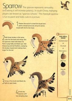 How to paint a sparrow from the book The Chinese Brush Painting Bible