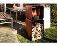 51 Sizzling Barbecue Designs - From Pizza Oven Grills to Caged Campfire Cookers Barbecue Design, Barbecue Grill, Grilling, Fire Pit Logs, Fire Pits, Fire Wood, Outdoor Wood Furniture, Modern Fire Pit, Bbq Kitchen
