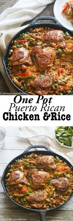 One Pot Puerto Rican Chicken and Rice: An incredible chicken meal flavored with sofrito sauce, spices, peas and olives. So easy to make and comes together quickly.