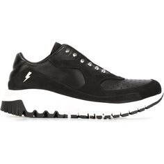 Neil Barrett 'Urban Runner' sneakers ($685) ❤ liked on Polyvore featuring shoes, sneakers, black, black studded sneakers, perforated sneakers, urban footwear, urban shoes and kohl shoes