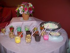Cake decorating buffet....make mini cakes or cupcakes, kids ice and decorate @ bday party!